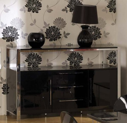 Charisma High Gloss 2 Door Sideboard in Black - Color: Black