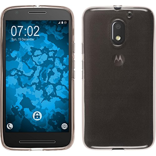 PhoneNatic Case kompatibel mit Lenovo Moto E3 - grau Silikon Hülle transparent + 2 Schutzfolien