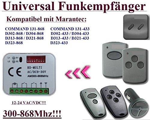 Universal Funkempfänger kompatibel mit Marantec D343-433, Digital 339,2, D343-868, D168-868, D381-868, D344-868, D164-868 Funkempfänger. 2-befehl Rolling Fixed code 300Mhz-868Mhz 12 - 24 VAC/DC - Torantriebe Board Control