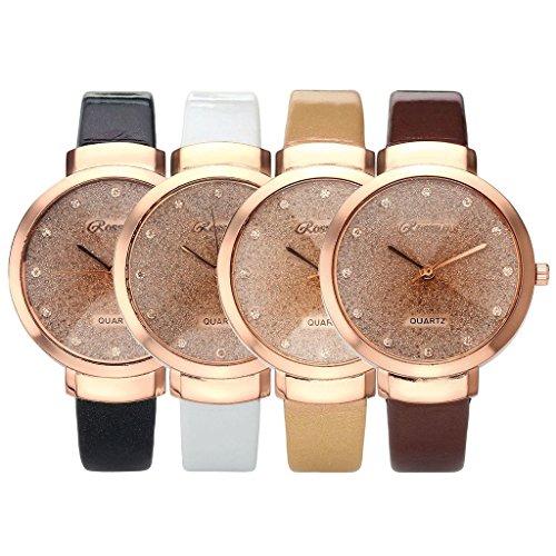 JSDDE Uhren,Elegante Damen Armbanduhr Braunglas Glitzer Dial XS Slim PU Leder-Band Ladies Dress Analog Quarzuhr,Schwarz - 6