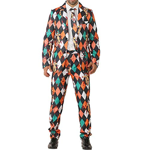 kingromargo Herren Damen Anzüge Clownmuster neutral Kostüme Urlaub Party (Kostüme Urlaub)
