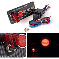 Auto Racing Schalter 12 V LED Z/ündung Panel Schalter Motor Start Druckknopf Abschaltschalter LED Kippschalter Rot
