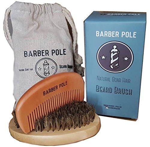 Coffret soin barbe brosse - barbe sanglier et peigne de barbe en bois , Inclus une pochette de rangement en coton et boite cadeau