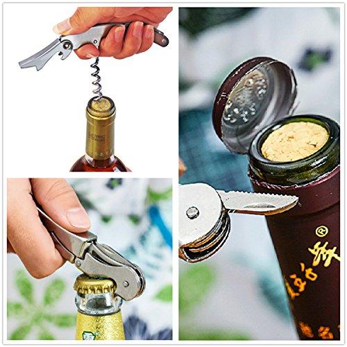 RanDal Multifunktionale Edelstahl Metall Korkenzieher Wein Bier Flaschenöffner 7 Farben - Pink