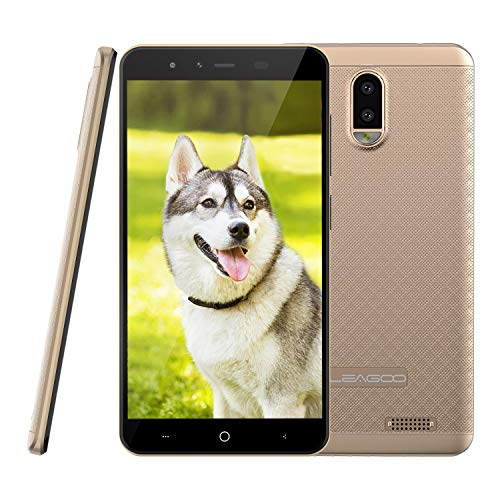 Leagoo Z7(2018) - Movil de 5 pulgadas(Pantalla FWVGA de 5.0 Pulgadas,Cámara Trasera Doble de 5MP,1/8GB Extensión de 32GB,Red de 4G,Procesador de núcleo cuádruple de 1.3GHz,Doble SIM,GPS WiFi Bluetooth FM,Batería 3000mAh,Android 7.0),Color Oro