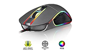 ⭐️KLIM AIM Chroma RGB Gaming Mouse - PC PS4 - PRECISE - Wired USB - Adjustable 500 to 7000 DPI - Programmable Buttons - Comfortable for all Hand Sizes - Ambidextrous Excellent Grip Gamer Gaming