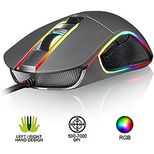 KLIM AIM Chroma RGB Gaming Mouse – 2019 Version – PRÄZISE – Kabel-USB – 500-7000 DPI einstellbar – Programmierbare Tasten – Bequem für alle Handgrößen – Beidhändiger Griff Gamer Gaming PC PS4