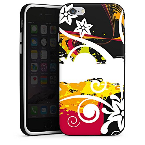 Apple iPhone X Silikon Hülle Case Schutzhülle Schnörkel Bunt Blumen Silikon Case schwarz / weiß
