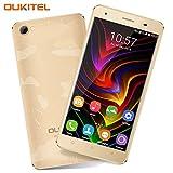 Oukitel C5 Pro Robustes Smartphone ohne Vertrag Dual SIM 4G Handy 5 Zoll Android 6.0 2GB RAM 16GB Speicher Dual Kameras 5MP/8MP Smartphone mit 2 Simkarten GPS Bluetooth-Gold