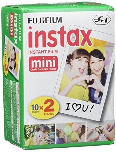 Fujifilm Instax Mini Brillo - Pack de 100 películas fotográficas instantáneas (5 x 20 hojas), color blanco