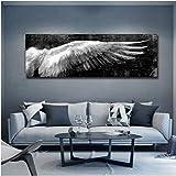 Jwqing Ailes Noires et Blanches Affiches et Posters Vintages Pas Cher peintures sur Toile Wall Art Picture pour décoration de Salon (60x180cm no Frame)