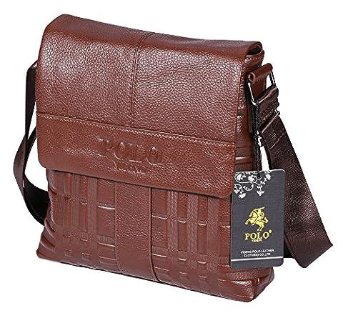 VIDENG POLO Genuine Cow Leather Shoulder Bag Business Messenger Crossbody Bags for Men (Brown-vs2)