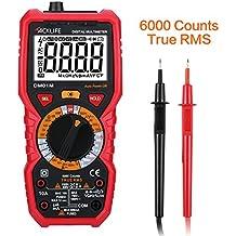 Tacklife DM01M Multímetro Digital,Amperimetro Tester sin Contacto,Counts 6000&True Rms ,puede medir AC/DC,Tensión de Autorange Retroiluminación LCD para Bricolaje