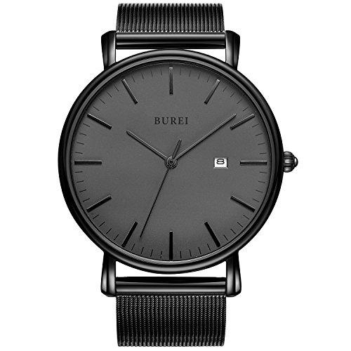 Burei unisex tutto nero minimalista quarzo ultra sottile con data e milanese mesh band (tutto nero)