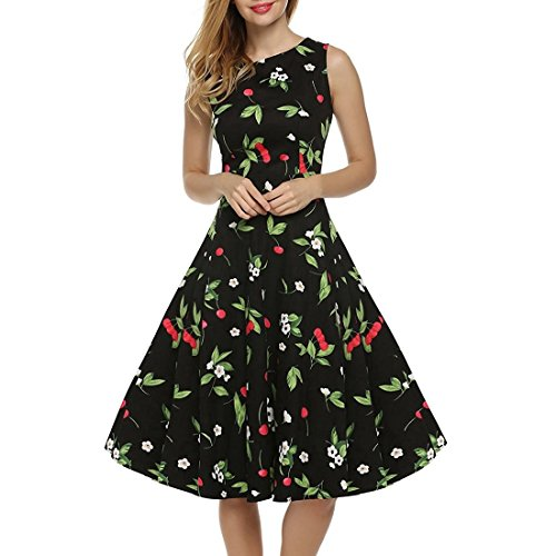 MALLTY Frauen 50er Jahre Boatneck ärmellose Vintage Tee Kleid Cocktail Maxi Kleid Sommer mit Gürtel S/M/L/XL / 2XL (Color : Black+Green, Size : S)