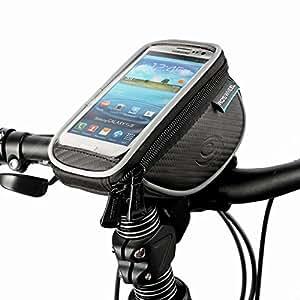 DCCN Fahrrad Lenkertasche MTB Fahradtasche Hanytasche (passend bis zu 5,5 Zoll) mit klaren PVC-Schirm