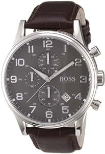 Hugo Boss - 1512570 - Montre Homme - Quartz Analogique - Cadran - Bracelet Cuir Marron