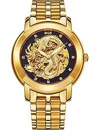 BOS 'Dragon Collection' Homme luxe Carved Bracelet Cadran mécanique automatique montre étanche Or 9007