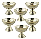 Satz von 6 indischen öllampe puja messing - diya kerze flüssige kerzenöl docht lampe lampe - 6,4...