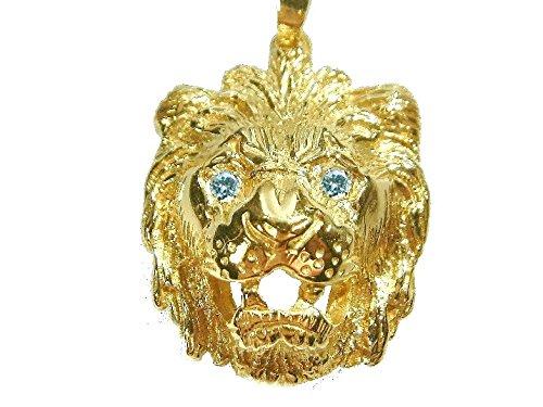Gold Löwen Anhänger (Löwenkopf Anhänger Gold 333 Löwe ca.0,16 Brillanten Augen Löwen Herrenschmuck)