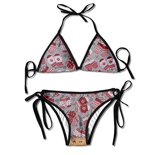 Osmykqe Womens Sexy Bikini Sets Bathing Swimsuits Tie Back Snowflakes Mittens Winter Holiday Christmas Flower Print Black -