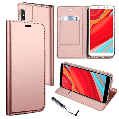 Guran® Funda de Cuero PU para Xiaomi Redmi S2 Smartphone Flip Case Construido en TPU con Función de Soporte con Ranura para Tarjetas Estilo de Negocios Cover - Oro Rosa