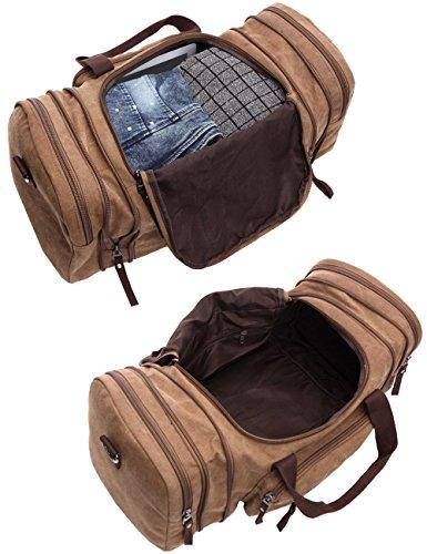 Leaper Weekender Handgepäck Reisetasche Canvas Segeltuch Sporttasche Umhängertasche Handtasche für Reise am Wochenende Urlaub(Kafeebrau) Kaffeebrau