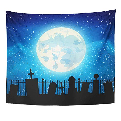 Halloween Friedhof Zaun - Soefipok Tapisserie Polyester Stoff Drucken