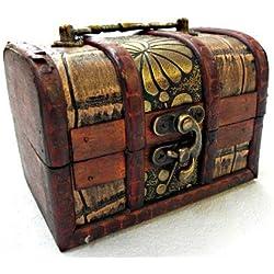 Baúl pirata de madera para pequeñas joyas, 13 cm.