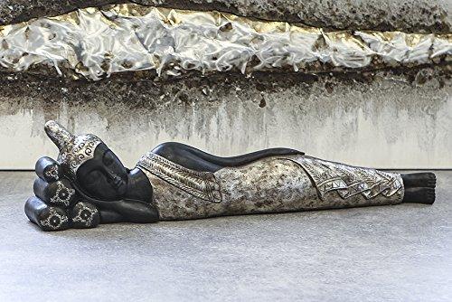 Figur Liegender Buddha Poly schwarz silbernes Gewand antik finish Breite 80 cm, Feng Shui, Orient,...