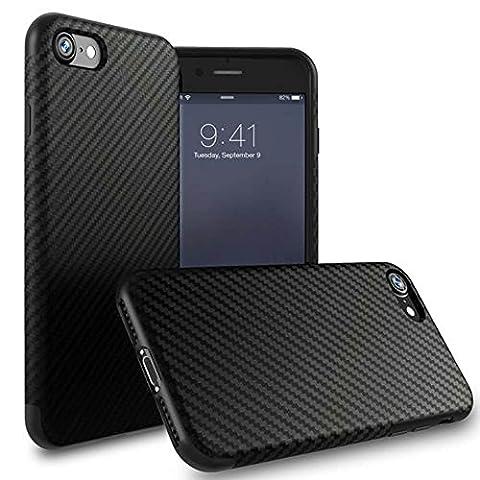Pour iPhone 7 Plus (5.5 Pouces) Coque,L-FADNUT Coque iPhone 5S Fibre Carbon TPU Gel de Silicone Ultramince Housse et Anti-Choc Protection Coque - Noir
