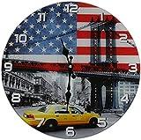 Out of the Blue Glas Uhr Amerika Flagge & New York Taxi Durchmesser 38 cm, Wanduhr im Vintage Look mit yellow cab Motiv, ausgefallenes Geschenk für USA und Retro Fans