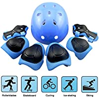 Kids Protective Gear, Kid's Skateboard Helmet Set, Knee Pads Elbow Pads Wrist Guards and Adjustable Helmet Use for Scooter Cycling Roller Skating, 7 pcs / Set, Blue