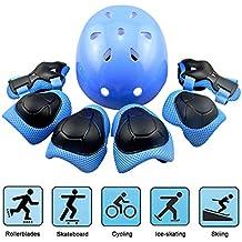 Kid 's Skateboard Protective Gear Set, patinaje y skate bmx Scooter ciclismo seguridad Pad salvaguardia almohadillas Gear (rodilleras coderas + + muñequeras + casco), azul