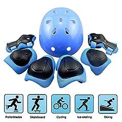 Idea Regalo - EarthSave Skateboard Casco Protezioni Set per bambini, protezione set Gomitiere polso ginocchiere per skate, Bicicletta, ciclismo, equitazione, Skateboard, Roller Skate, Blau