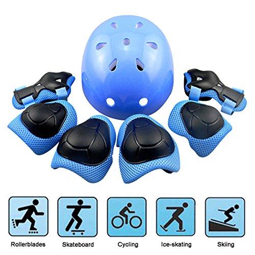 EarthSave Skateboard Casco Protezioni Set per bambini, protezione set Gomitiere polso ginocchiere per skate, Bicicletta, ciclismo, equitazione, Skateboard, Roller Skate, Blau