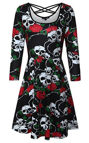 DKBAYA Damen Halloween Kleid mit Schädel und Rose Muster Floral Langarm Skaterkleid mit Schnürung Casual A-line Minikleid