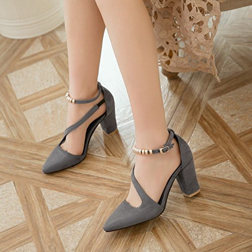 Mee Shoes Damen Nubukleder Schnalle chunky heels Pumps Grau