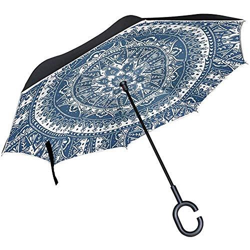 Paraguas Inverso Hippie Espiral Paraguas Invertido Reversible para Golf Car Travel Rain Outdoor