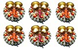 Haldi kumkum holder/ box/ container/ set with Lord Ganesha Idol, Handcrafted on round golden base with Multicolor pearls for Sankranti and Pongal Festival