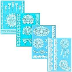 Tatuajes Temporales En Varios Diseños | Adhesivos Removibles De Encaje Blanco | Conjunto De 4 Hojas Con 25 Pegatinos – de Ahimsa Glow®