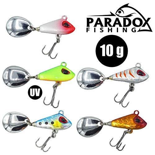Paradox Fishing Jig Spinner 5er 10g Set Spin Jig zum Barsch Angeln Barsch Köder Zander Köder Hecht Köder Bleikopfspinner Spinnerbait Spinnköder Tailspinner (10g)