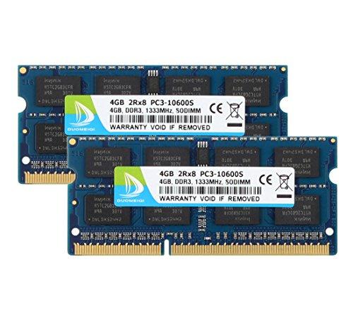 DUOMEIQI 8GB-Kit (2 x 4 GB) 2RX8 PC3-10600S DDR3 1333 MHz SO-DIMM CL9 204 Pin 1,5 V Nicht-ECC-ungepuffertes Laptop-Speichermodul, kompatibel mit Intel AMD und Mac-Computern