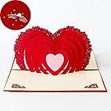 Tarjeta para el Día de San Valentín,Deesos Tarjeta de cumpleaños Regalo para sus familiares, amigos y amantes Especial, Tarjeta de felicitación 3D Pop-up con hermoso corte de papel, Mejor regalo para el cumpleaños de un amante o Aniversario, Sobre incluido (Corazón)