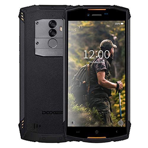 Rugged Smartphone in Offerta 4G, DOOGEE S55-2019 Dual SIM Cellulare Resistenti Outdoor 4+64GB Android 8.0 Batteria 5500mAh Impermeabile IP68 Antipolvere Antiurto GPS/Fingerprint/WIFI/FaceID-Orange