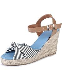 Alexis Leroy Chaussures Nouées Sandales à Talons Espadrilles Compensés Femme 48097464b274