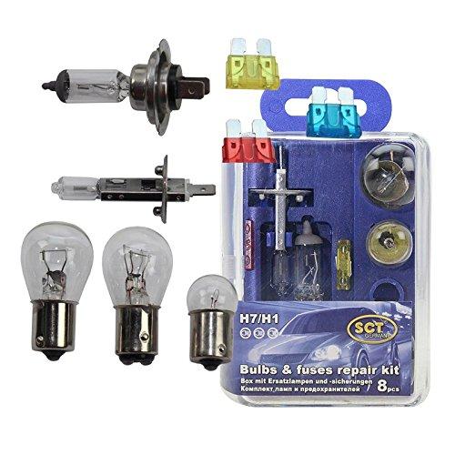 SCT Birnenkasten H7/H1 incl. Sicherungen mit 1x H1 Glühlampe 12V 55 W, 1x H7 Glühlampe 12V 55 W, 1x P21W 12V 21W Stoplichtbirne, 1x P21/5W 12V 5W Standlichtbirne vorne, 1x R5W 12V 5W Standlichtbirne hinten, 1x Flachsicherung 10A, 1x Flachsicherung 15A, 1x Flachsicherung 20A;