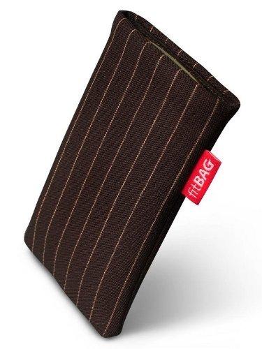 fitBAG Twist Dunkelbraun Handytasche Tasche aus Nadelstreifen-Stoff mit Microfaserinnenfutter für Samsung SGH-J150