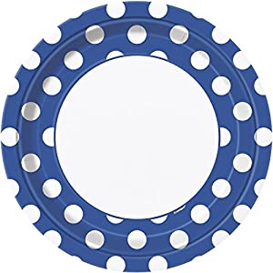 Unique Party- Paquete de 8 platos de papel a lunares, Color azul rey, 37505)
