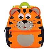 Tiger Kinder-Rucksack Wasserdicht mit Brustgurt für 1-3 jährige Jungen und Mädchen im Kindergarten oder Kita